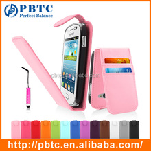 Pink PU Leather Credit Card Flip Phone Case SET For Samsung Galaxy Fame S6810