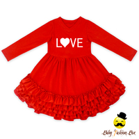 448BQA101 Yihong Valentine's Days Ruffle Smocked Kids Dress Photo Printed Kids Girls Cotton Long Sleeve Frock Design For Cutting