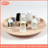 difference color gift box package bone china delicate white porcelain thimble set or unique hand ring decorative jewelry holders