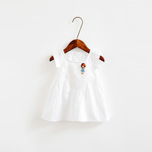 Wholesale simple embroidery girls cotton summer dress for girls