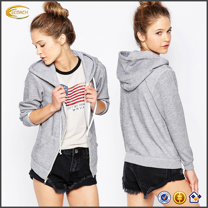 Ecoach wholesale womens fashion grey zip front long sleeve couple hoodie supremes hoodie