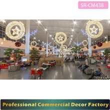 Customize commercial New year shopping mall hanging giant led Christmas ball star decoration 100cm 120cm 150cm 200cm