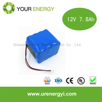 12v 7.8ah 12v lifepo4 battery pack with deep cycle life for solar lighting