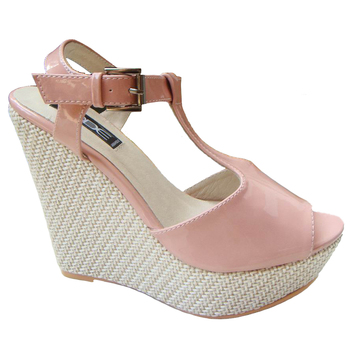 Pink Patent Farbic Sexy High Heel Women's Sandal Shoes