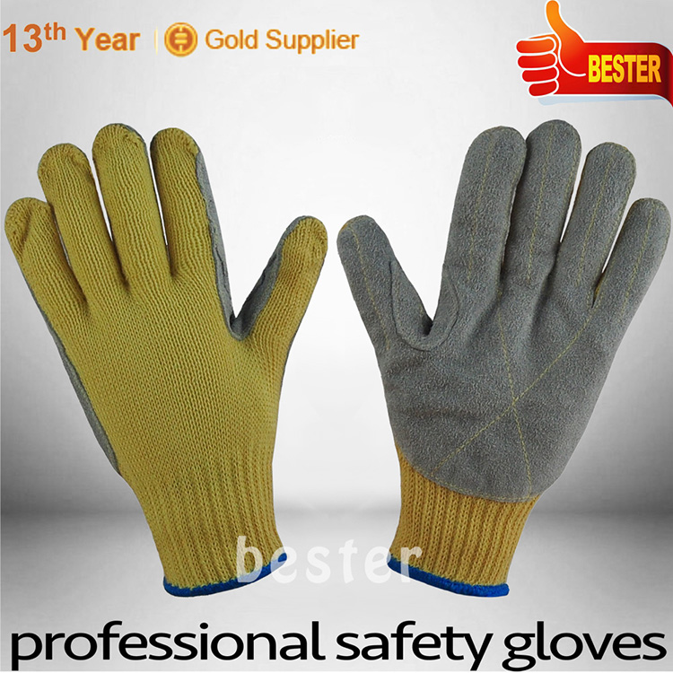 Bottom price competitive bright yellow calf leather gloves