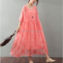 Lace maxi women dress with handmade crocheted flower Round Neck Long Sleeve party Evening long Gown