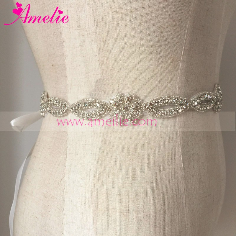 Handmade Long Size Rhinestone Applique for Wedding Dress