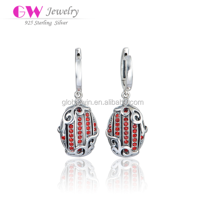 Wholesale Garnet Glass Stones Paved Silver Earrings Retro Design Crystal Pendant Silver Earring 925 Sterling Silver Earring Hook