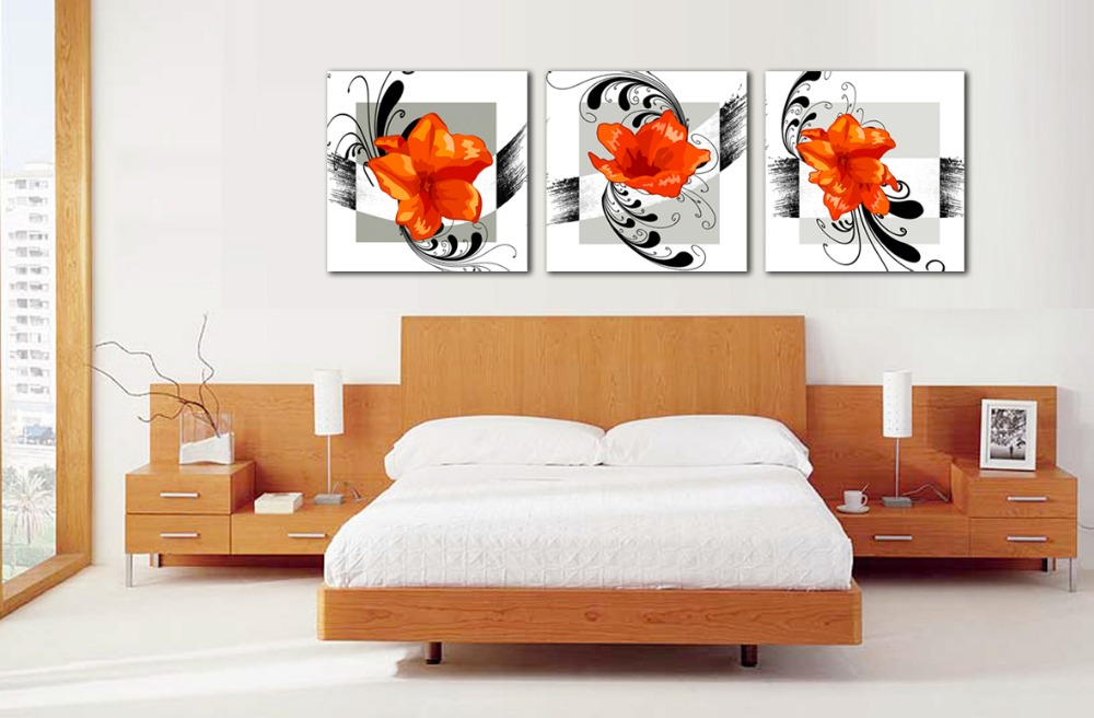 Modern 3pcs Canvas Wall Art Interior Wall Flower Painting for Home Hotel Decoration