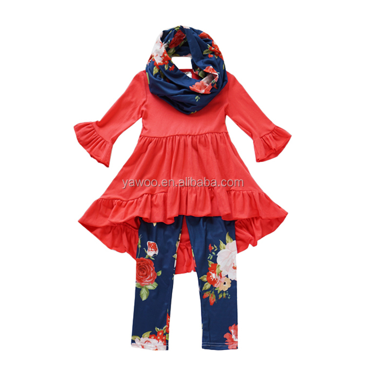 2017 Yawoo girls red cotton dress match floral icing leggings and scarfs 3 pcs outfits wholesale teen clothing