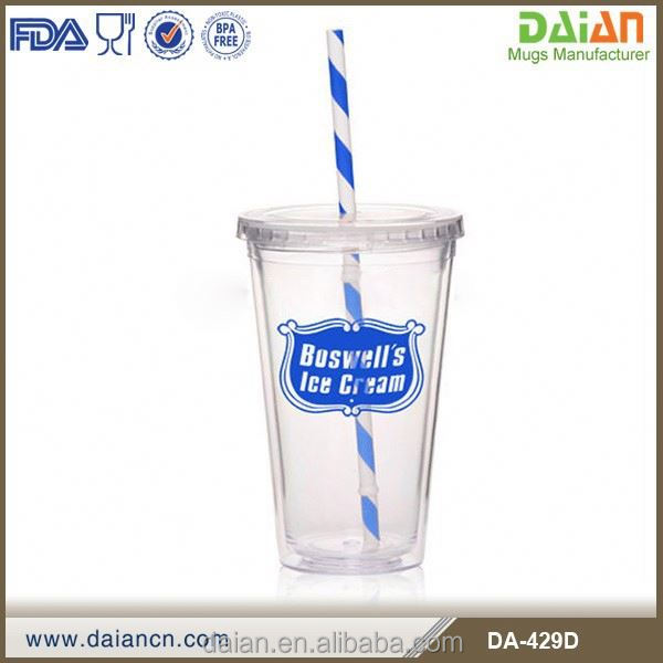 Double Wall Clear Acrylic Tumbler With Striped Straw
