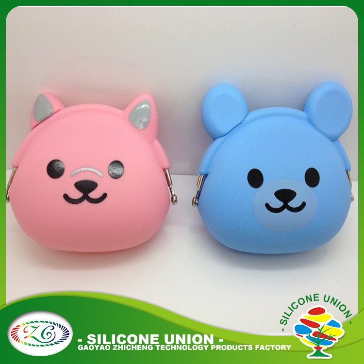 cute animal high quality silicone coin clasp purse wallet for kids