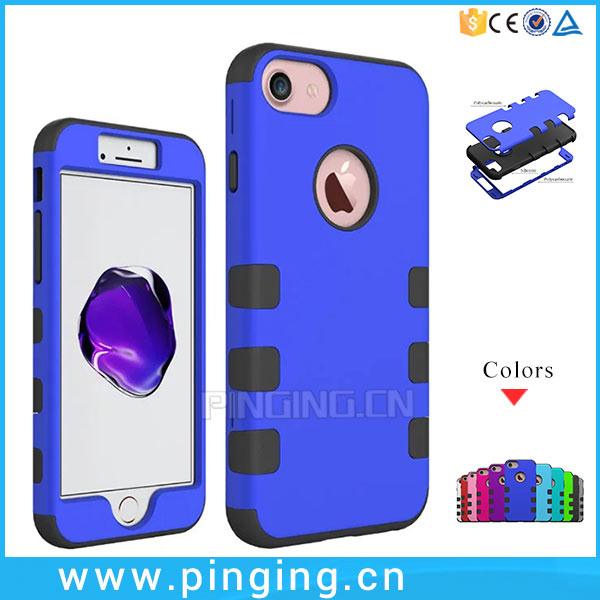 2017 hot new products 3 in 1 pc silicone combo robot cases for iphone 7