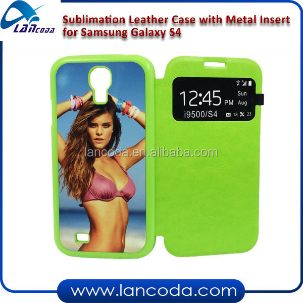 2d sublimation leather mobile phone case for Samsung S4 I9500,with pu flip window