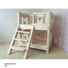 Wooden Pet House Kennel With Terrace and Ped Mat For Small Pets Cats