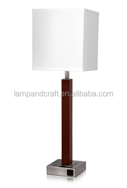lamp with brushed nickel finish and 2 rockers 2 power outlets on base. Black Bedroom Furniture Sets. Home Design Ideas