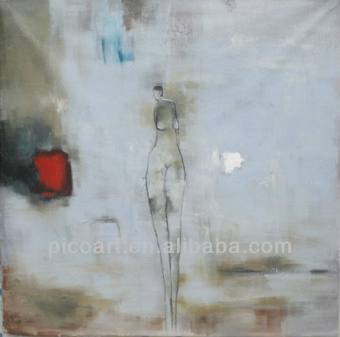 Abstract Nude In Blue Girl Oil Painting For Decor