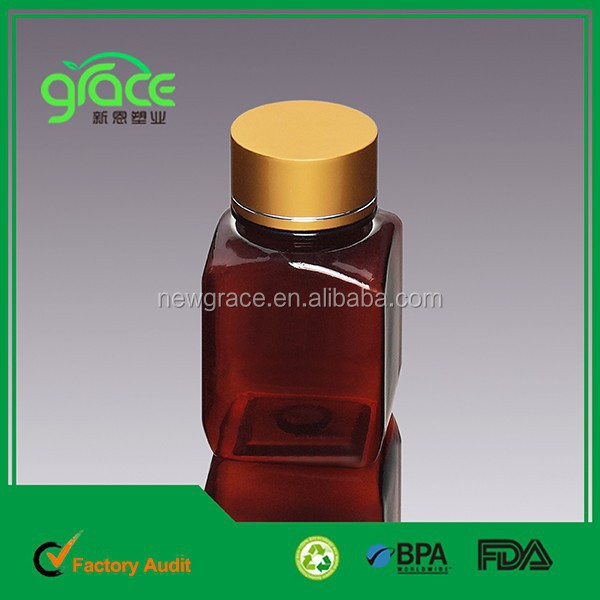 Square Shape Amber Color Simple Style Capsule 150ml Bottle