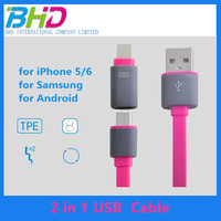 wholesale high quality TPE materi 2 in 1 micro usb data cable portable Retractable Charging usb cable for iPhone and Android