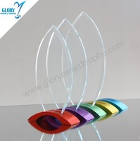 Wholesale New Design Metal Colorful Base Glass Awards Trophy