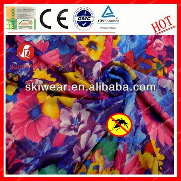 100% Polyester Anti Mosquito printed silk chiffon fabric with flower pattern