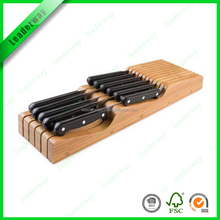 Kitchen cutlery holder or bamboo wood 10 slots knife rack