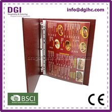 good full grain + smooth leather upper ring binder with mechanism metal clip food and drink board