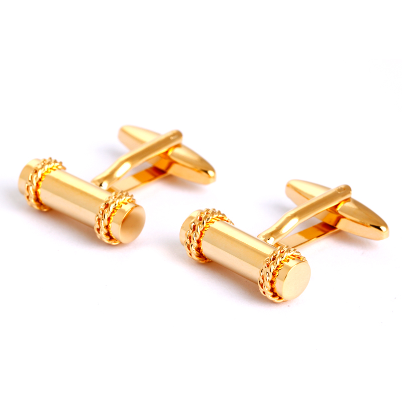Gold Cylinder Men Shirt Cufflinks