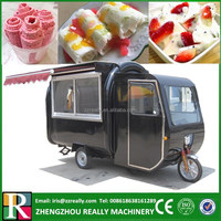 China electric tricycle food cart fried ice cream cart with three big wheels