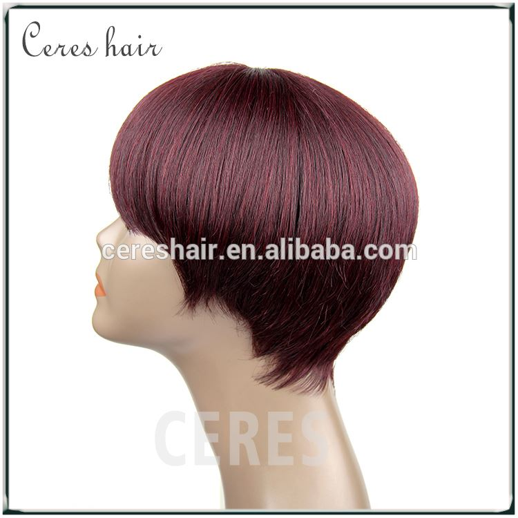 100% human hair large cap lace front wig wine red purecolor silk straight short hair wig