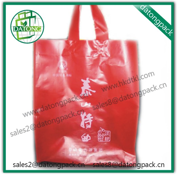 handle red plastic bag printing factory in China, photo print plastic bags