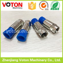 Voton RG6 connector crimp type tv F male straight squeeze connector for RG6 wire cable