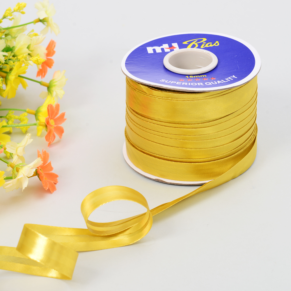 Reflective Gold Metallic Lurex Bias Tape Bias Cord Piping Tape