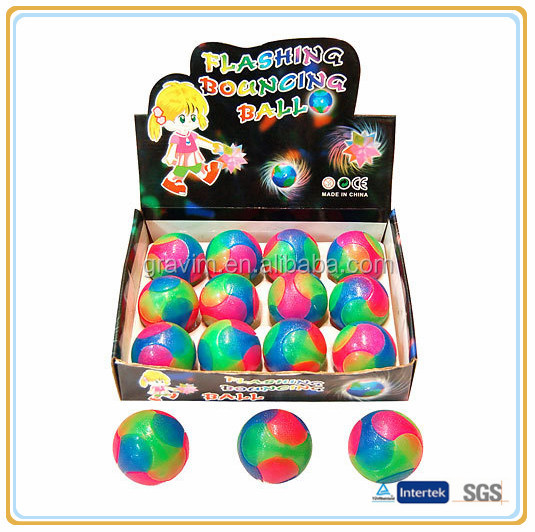 2014 Custom New Special Colorful LED Flashing TPR Bouncing Balls With Multi-color Light