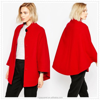china supplier fashion winter high neckline button front red ladies wool cape coat