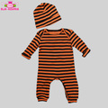Baby Girl & Boy Halloween Jumpsuit Long Sleeve Orange And Black Striped Newborn Baby Clothes Romper With Matching Beanie Hat