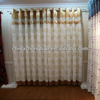 Wholesale ready made fancy curtains with embroidery floral pattern