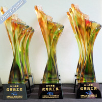 Nice elegant glass k9 crystal liuli glaze design trophy colorful crystal glaze trophy