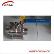 1000wog sanitary stainless steel three piece welding ball valve