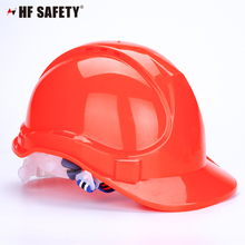 red construction safety helmet