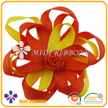 Beautiful handmade artificial flower stitched clip in hair extension, craft diy ribbon bow