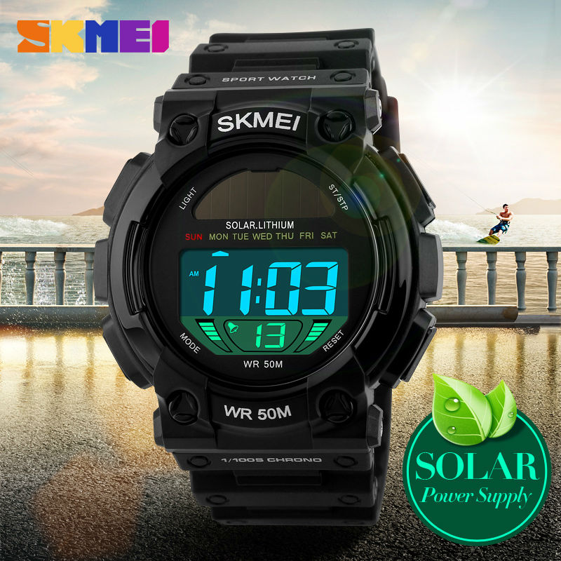SKMEI 1126 Solar LED Outdoor Sports Men Wristwatches Resistant Multifunctional Watch 50M Waterproof Digital Watches
