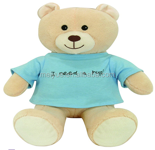 Wholesale Cute Polyester Comfortable Velboa Fabric Blue T-shirt Teddy Bear