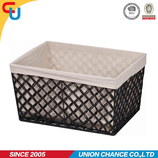 2015 big size black wire mesh canvas handmade paper rope storage basket laundry box