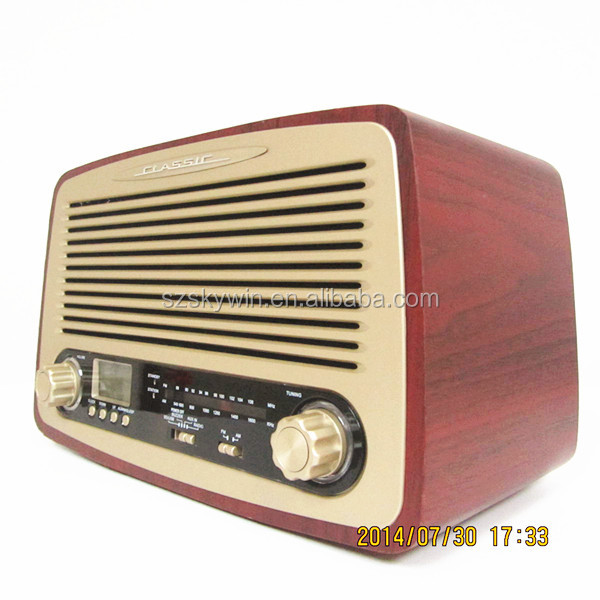 Portable professional vintage Wooden AM FM Radio speaker 2014