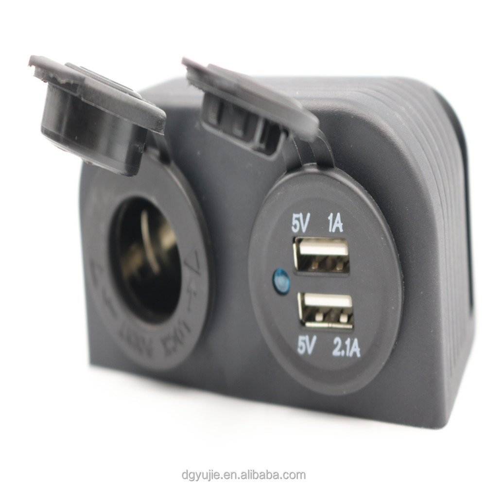 Boat Most Power Dual USB Outlet 12V 3.1A USB Charger and Cigarette Socket