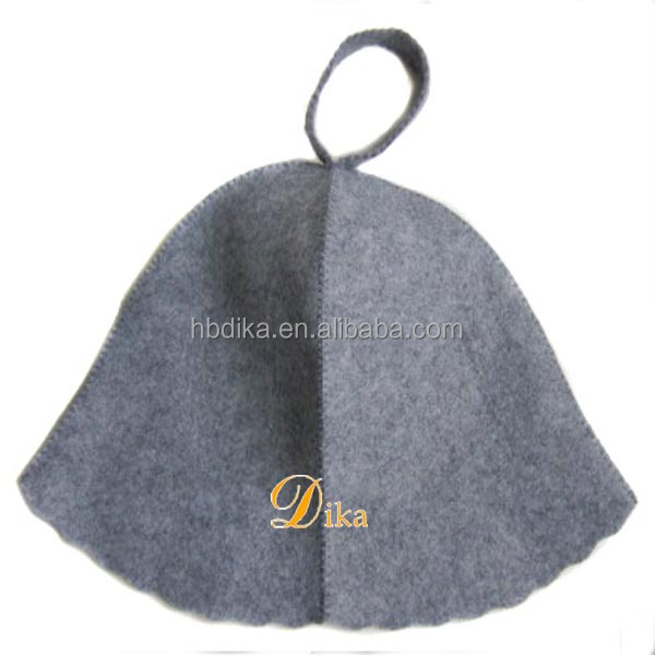 2mm thickness natural grey spliced wool sauna hat, wool sauna felt