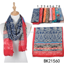 TOROS Women Summer Breathable Vintage Bamboo Cotton Linen Printing Scarf