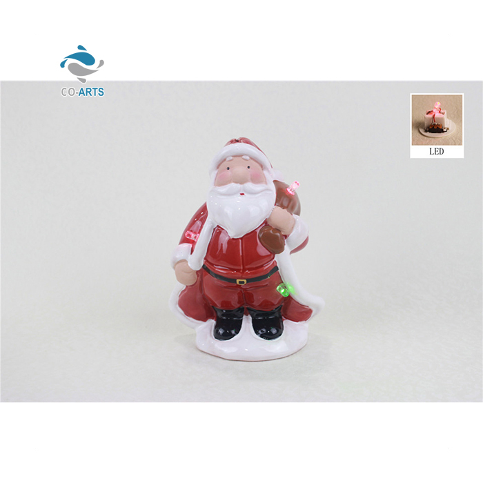 Best quality handmade LED ceramic sculpture lovely decoration in Christmas