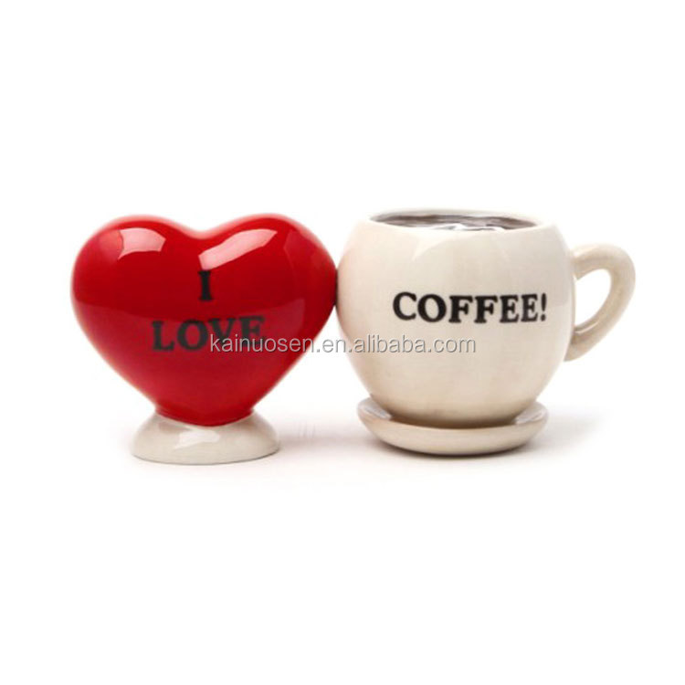 Love Coffee Salt & Pepper Magnetic Shaker Set